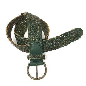 Linea Pelle Woven Green Leather Belt Small